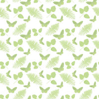 seamless pattern with  leaves and butterflies