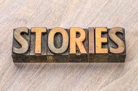 stories word in vintage letterpress wood type