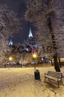 Church of St. Olha and Elizabeth in night winter Lviv city, Ukraine