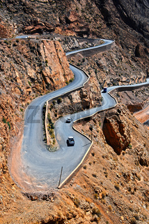 Serpentine mountain trail in Gorges Dades in high Atlas