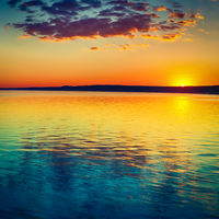 Sunset over the river. Amazing landscape