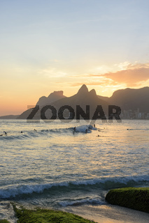 Surf at sunset at Rio de Janeiro