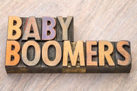 Baby boomers word abstract in wood type