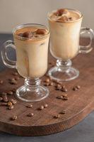 Iced coffee in glass jars