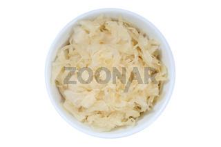 Sauerkraut Weißkraut Kraut geschnitten von oben isoliert freigestellt Freisteller