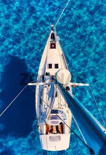 Sailboats at Cala Saona bay in Formentera. Balearic Islands. Spain