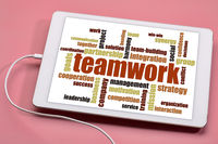teamwork word cloud on tablet