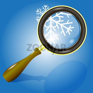 snow flake and magnifying glass
