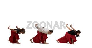 People doing yoga exercises shot isolated on white