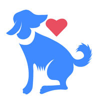 Silhouette of Blue Dog with Red Heart Isolated