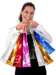 Close up of Happy Young woman with shopping bag