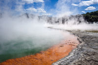 Champagne Pool hot lake in Waiotapu, Rotorua, New Zealand