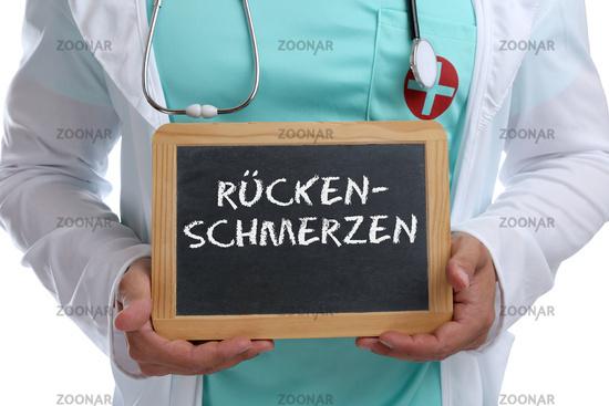 Rückenschmerzen Rücken Schmerzen krank Krankheit gesund Gesundheit junger Arzt Doktor