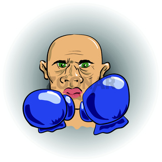 head of angry boxer