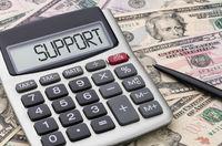 Calculator with dollar bills - Support