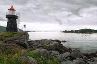 Lighthouse and landscape near Gravdal city, Norway