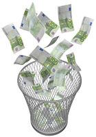 papierkorb mit euroscheinen