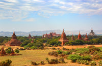 Landscape with pagoda and temples in Bagan