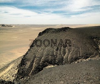 Mountain landscape in Black Desert near Bahariya, Egypt