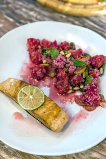 Grilled Salmon with raspberry