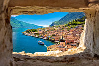 Limone sul Garda view through stone window from hill