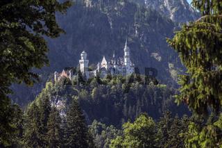 Das berühmte Schloss Neuschwanstein thront auf einem Hügel unterhalb des Tegelbergs bei Füssen im Allgäu.