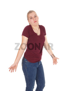 Woman gesturing she dos not know