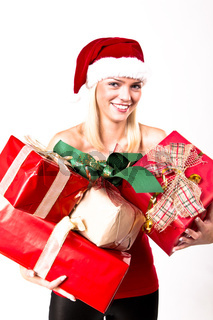 Beautiful Blond Santa Girl With A Bunch Of Presents