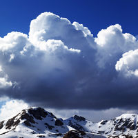 Snowy mountains and sky with clouds