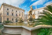 Diana fountain in the center of Siracusa - piazza Archimede Syracuse