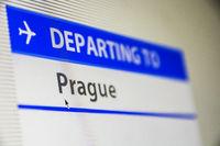 Computer screen close-up of flight to Prague, Czech Republic