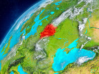 Space view of Belarus in red