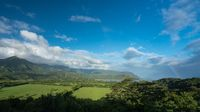 View of Hanalei after storm with rainbow