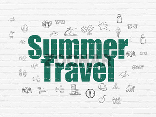 Travel concept: Summer Travel on wall background