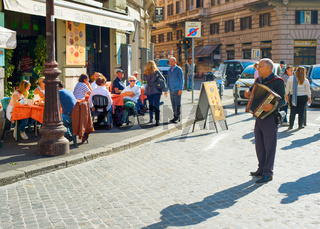 Rome street musician, Italy