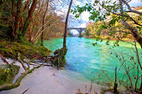 Natisone river sand coast and devil's bridge in Cividale del Friuli view from canyon