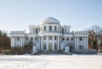 Elagin Palace on the Elagin Island in winter day