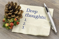 Deep thoughts list on napkin