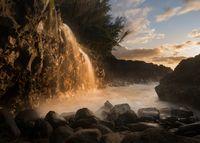 Waterfall near Queens Bath in Princeville Kauai