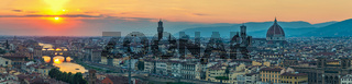 Florence panorama city skyline when sunset, Italy