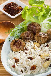 Indian Lamb Koftas with Basmati Rice and Salad