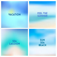 Abstract vector beach blurred background set 4 colors set. Square blurred backgrounds set - sky clouds sea ocean beach colors