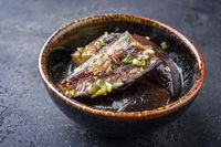 Japanese pickled Eggplant as close-up in a bowl