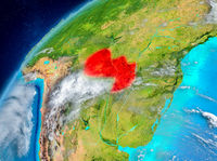 Space view of Paraguay in red