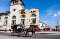 Havana, Cuba - December 12, 2016:  Horse cart in front of the trainstation in Havana, Cuba