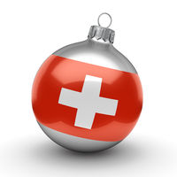 3D rendering Christmas ball with the flag of Switzerland
