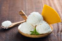 Coconut ice cream plate