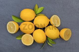 Zitrone Zitronen Früchte Schiefertafel von oben