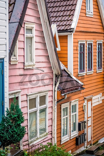 Pink and orange house in Bergen old town