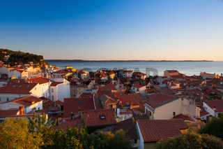 Sunset view on the coastline in Piran town.